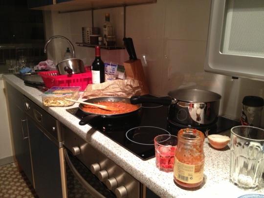 makin' sauce, drinkin' Campari