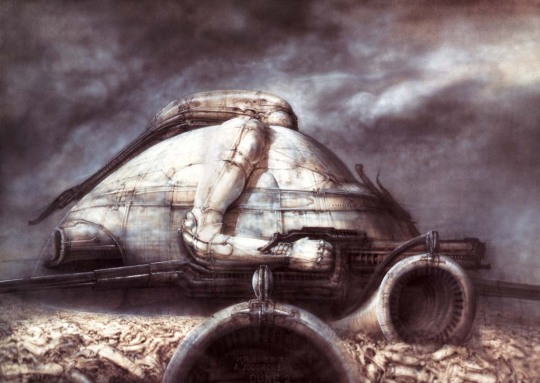 H.R. Giger's designs for Castle Harkonnen obviously influenced his designs for Alien