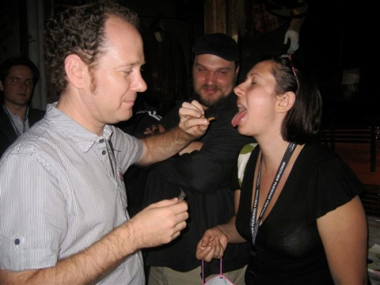 Here's me eating a cricket at TIFF 2009. Just for no reason.