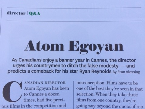 nice to see Atom using some National Canadian Film Day messaging in his Cannes press
