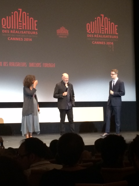 my favourite translator, Edouard Waintrop (Quinzaine's artistic director) and Refn on stage before The Texas Chainsaw Massacre