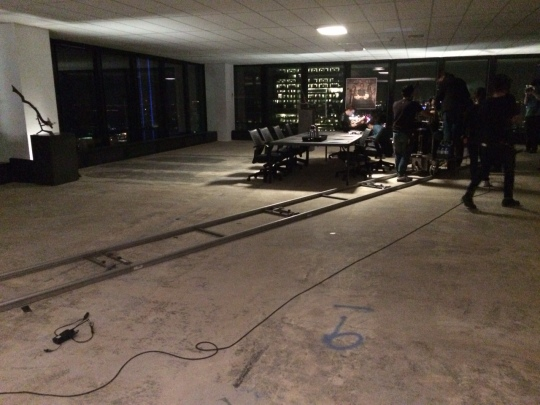laying down the dolly track for a big scene
