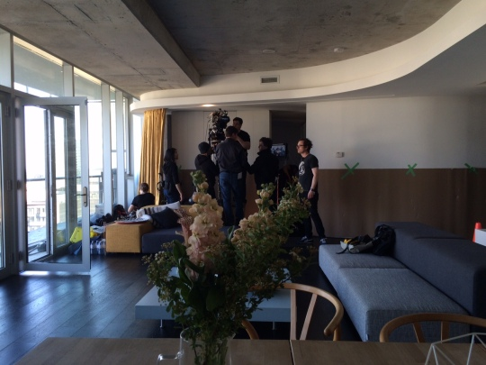 setting up in the gorgeous apartment